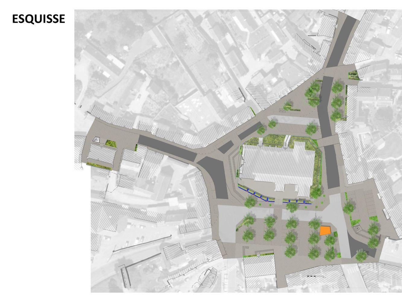 Atelier INEX - Esquisse centre bourg de Plouaret