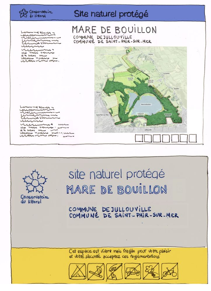 Panneaux entrée de site Mare de Bouillon - Atelier INEX