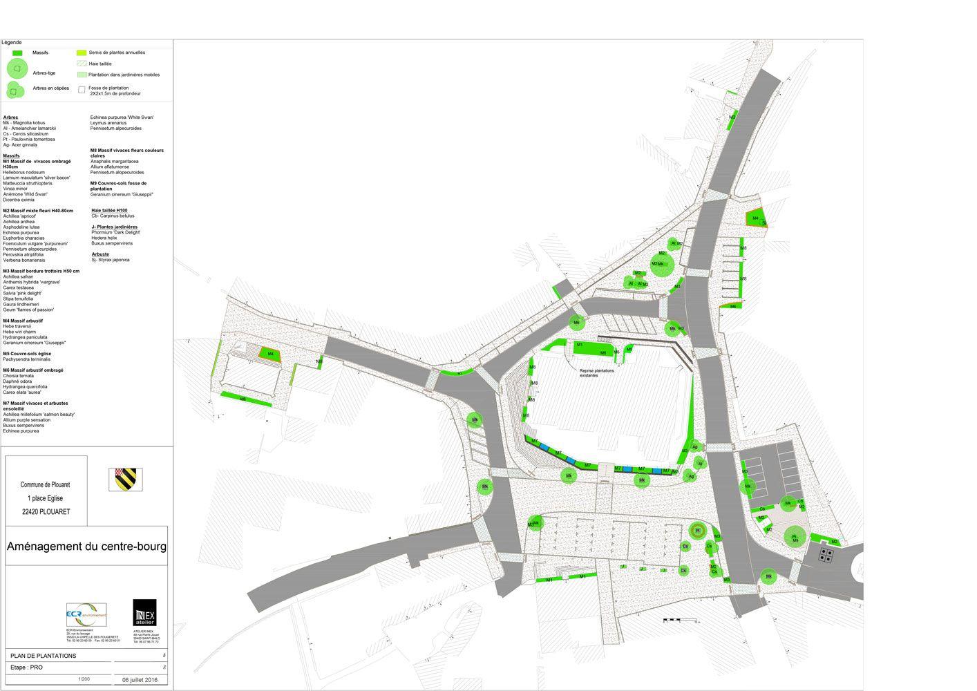 Plan masse centre bourg de Plouaret - Atelier INEX