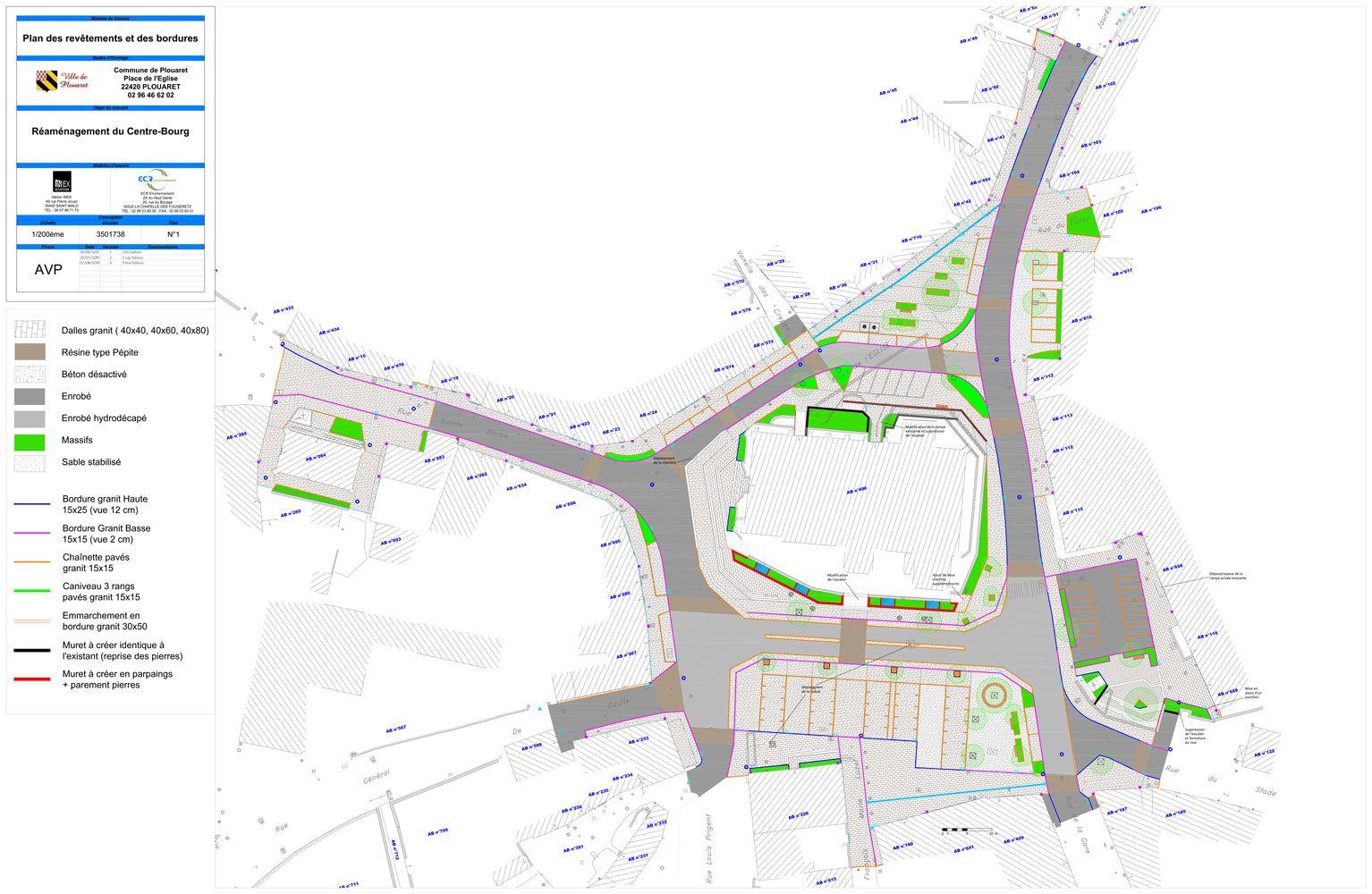 Plan masse réaménagement centre bourg de Plouaret - Atelier INEX