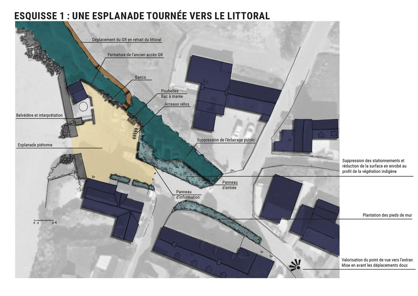 Valorisation site Port Morvan esquisse esplanade tournée vers le littoral - Atelier INEX