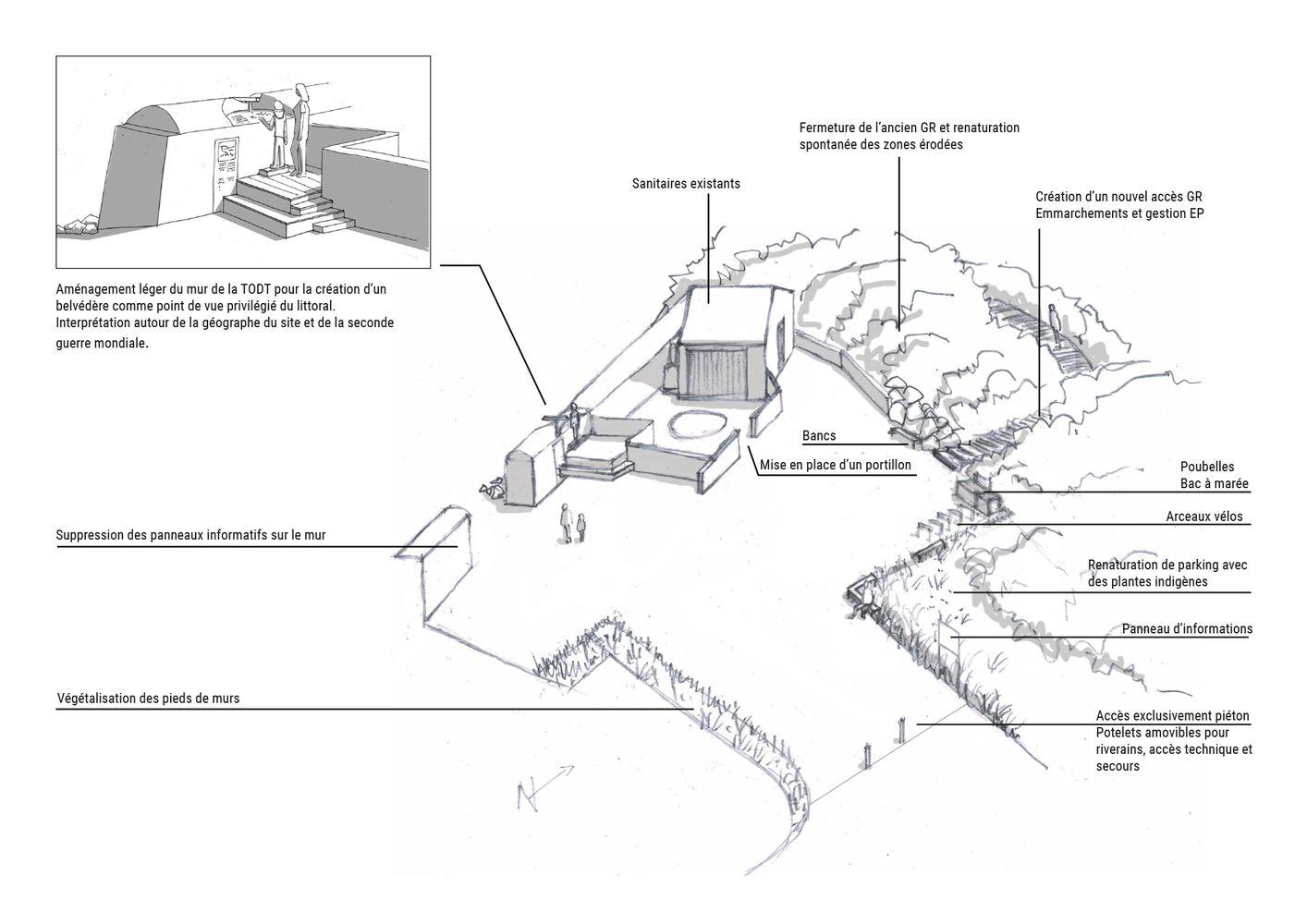 Valorisation site Port Morvan mur de la TODT belvédère - Atelier INEX